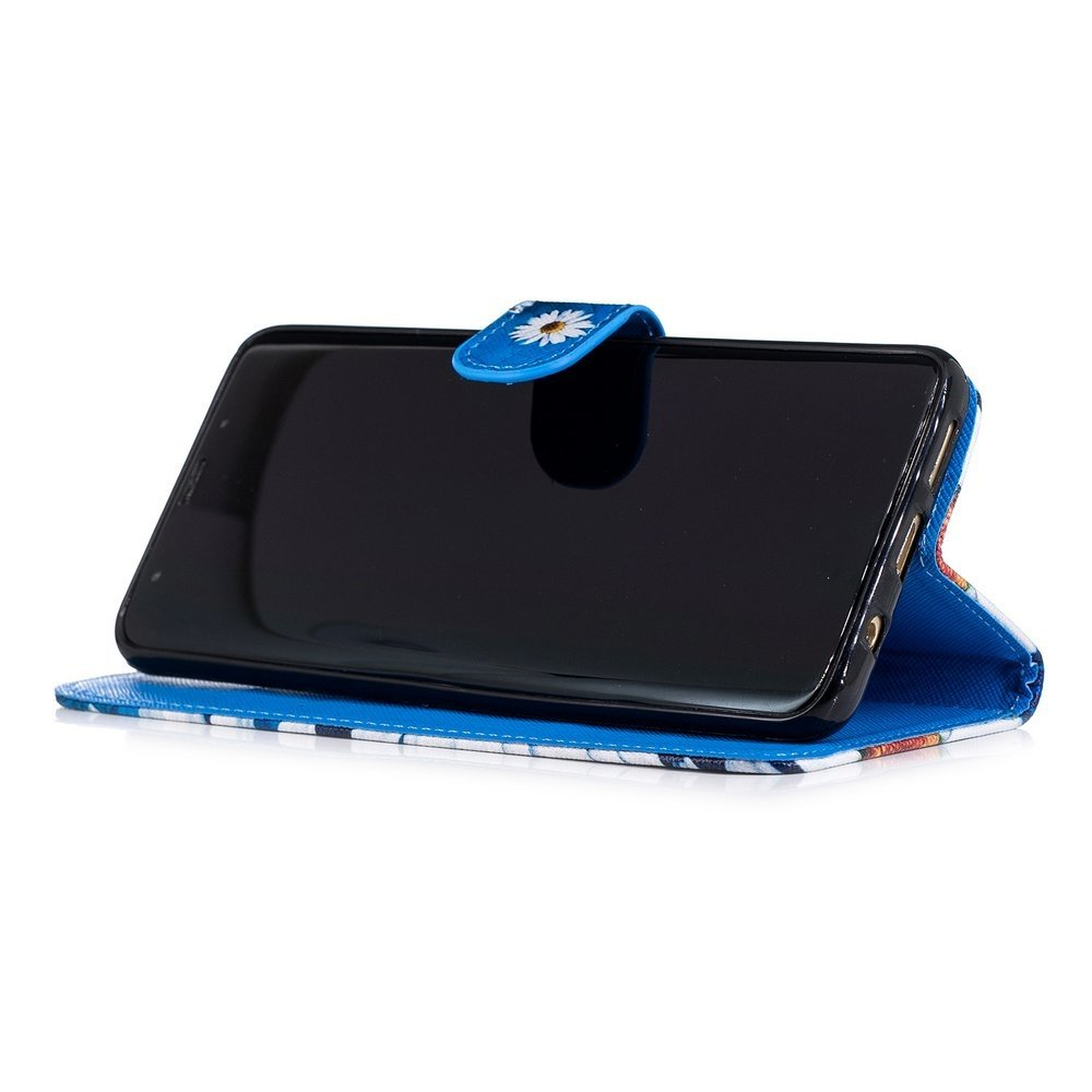 Hemels blauw met chrysantenSamsun Galaxy S9 PLUS portemonnee hoes