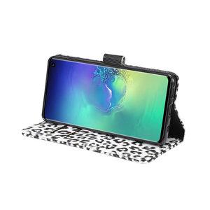 Luipaard Wit Samsung Galaxy S10 Portemonnee hoesje