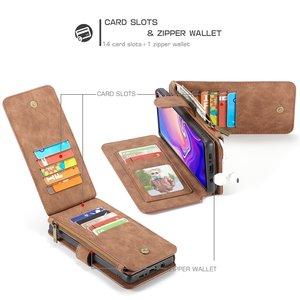 CaseMe 14 vaks 2 in 1 wallet hoesje Samsung S10  echt Split leer