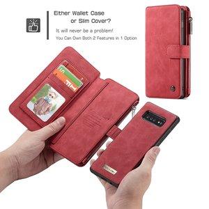 CaseMe 14 vaks 2 in 1 wallet Bruin hoesje Samsung S10e  echt Split leer