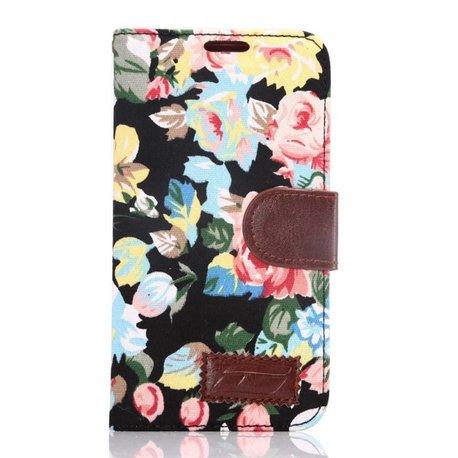 Stoffen Portemonnee.Stoffen Bloemen Samsung Galaxy S6 Portemonnee Hoesje