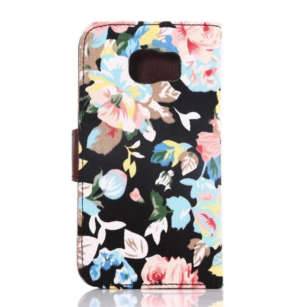 Stoffen bloemen Samsung Galaxy S6 portemonnee hoesje