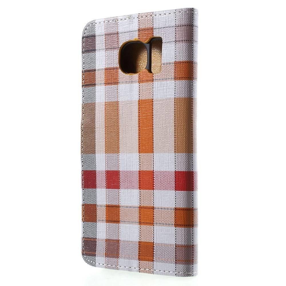 Samsung Galaxy S6 portemonnee hoes oranje geruit