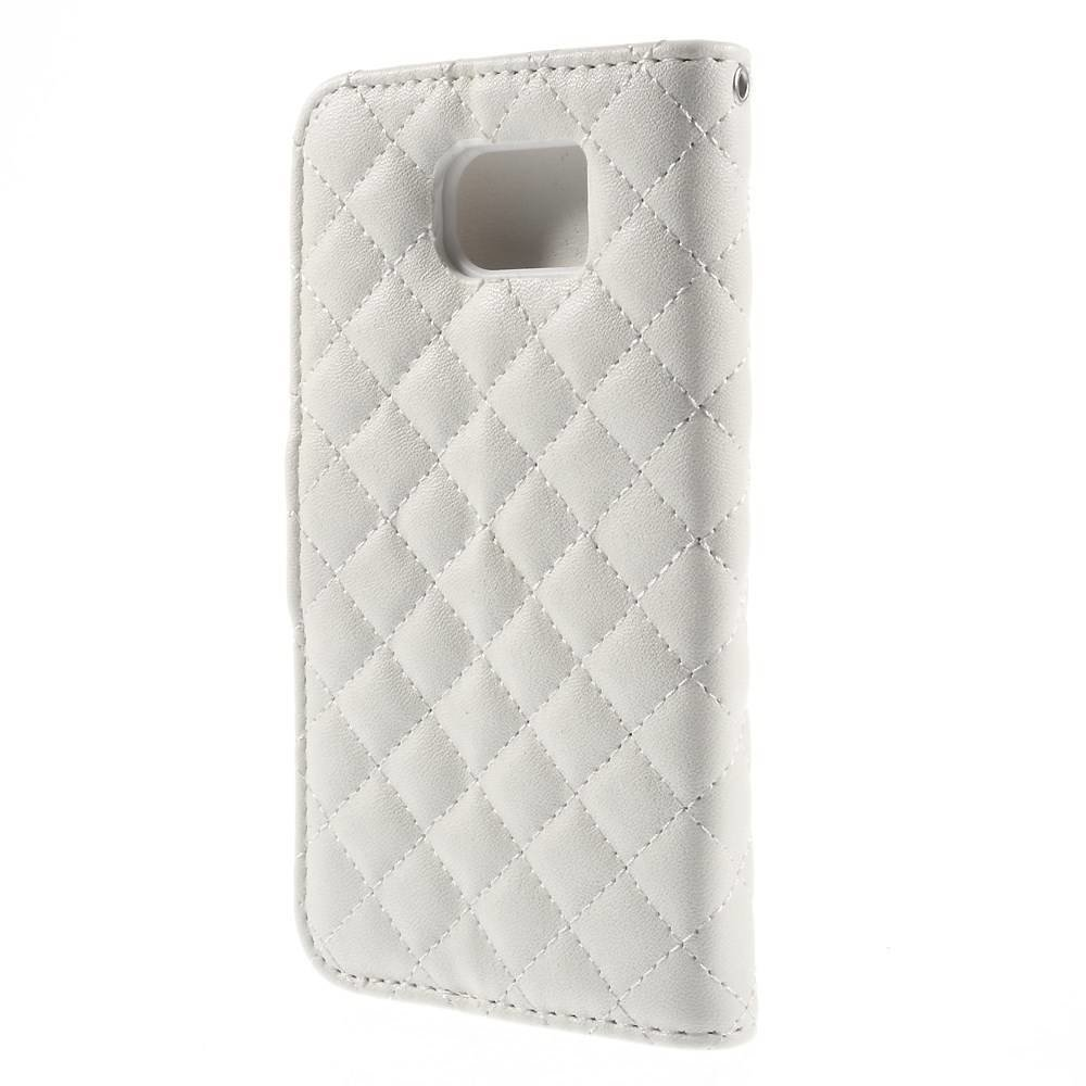 Wit geruit Samsung Galaxy S6 portemonnee hoesje
