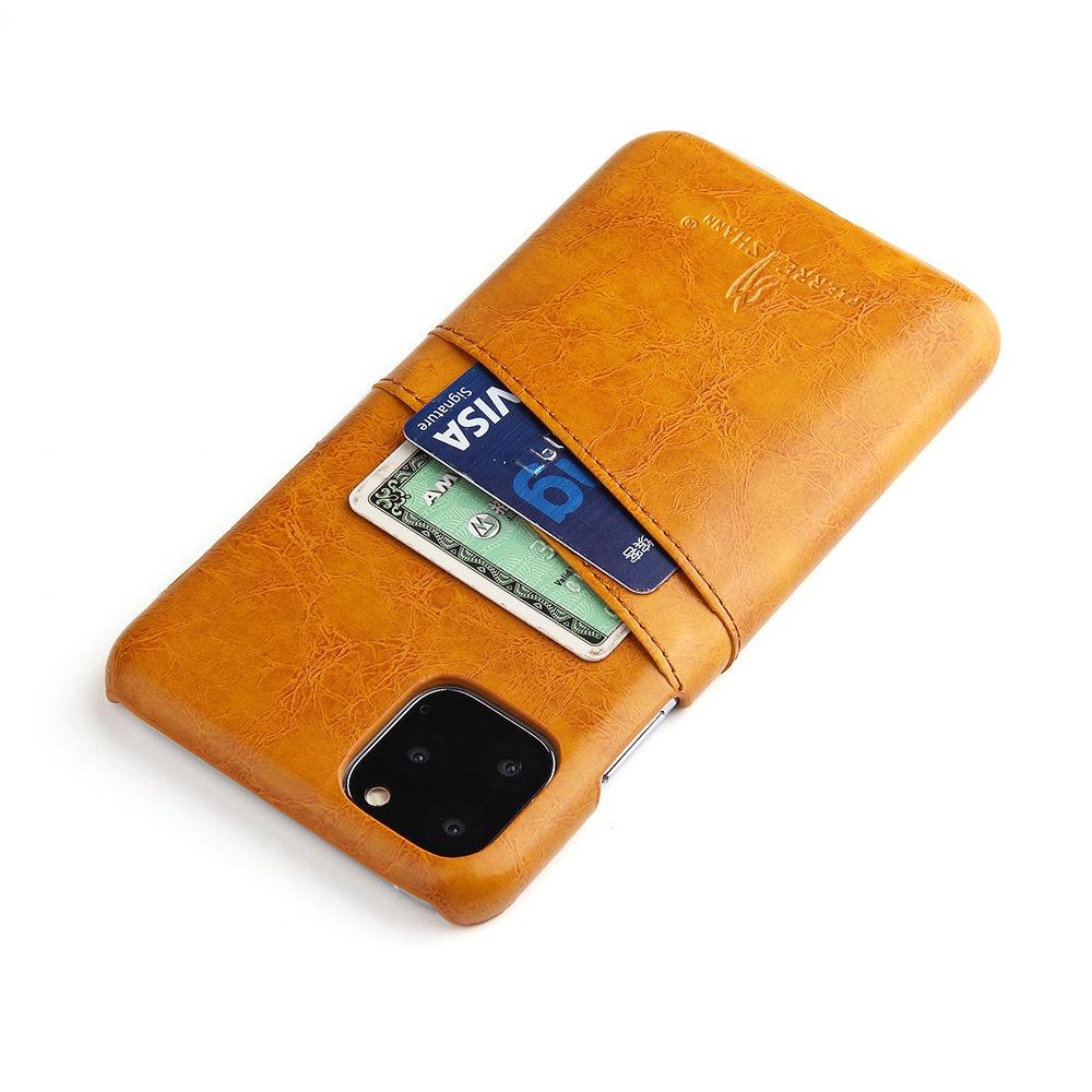 Fierre Shann iPhone 11 Bruine harde hoes met pu leer bekleed en ruimte voor 2 pasjes