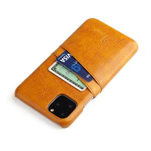 Fierre Shann iPhone 11 PRO Bruine harde hoes met pu leer bekleed en ruimte voor 2 pasjes