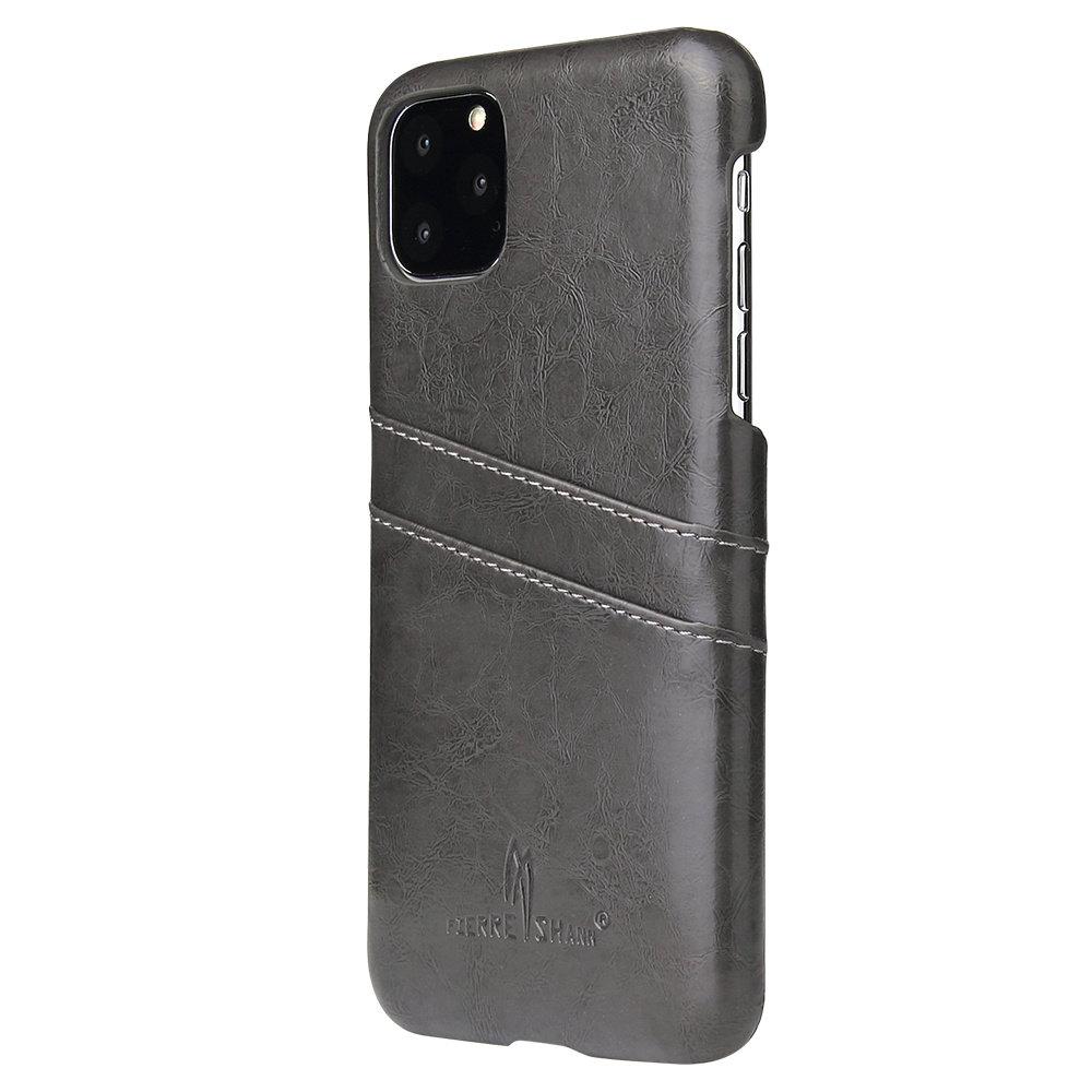 Fierre Shann iPhone 11 PRO Zwarte harde hoes met pu leer bekleed en ruimte voor 2 pasjes - Copy