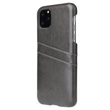 Fierre Shann iPhone 11 PRO Zwarte harde hoes met pu leer bekleed en ruimte voor 2 pasjes