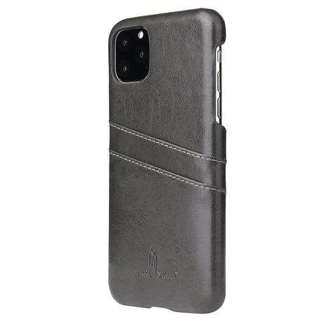 Fierre Shann iPhone 11 Zwart/grijs harde hoes met pu leer bekleed en ruimte voor 2 pasjes