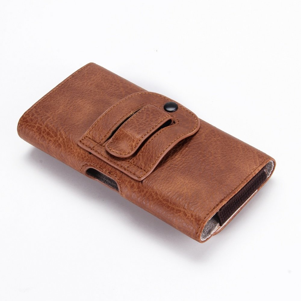 Bruine PU Lederen broekriem telefoonhoesje met ruimte voor pasje