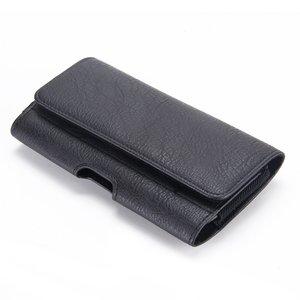 zwarte PU Lederen broekriem hoesje voor grote telefoons met ruimte voor pasje