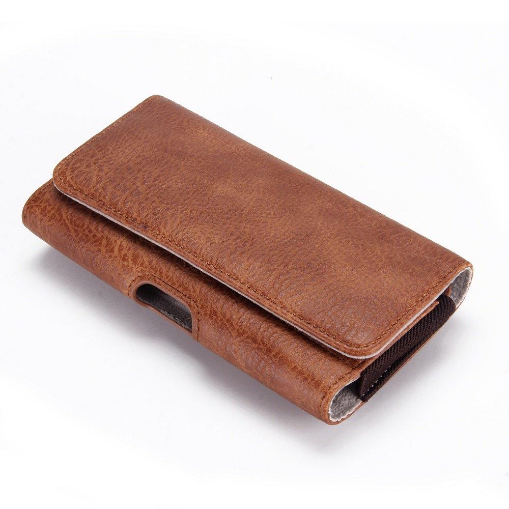 bruine PU Lederen broekriem hoesje voor grote telefoons met ruimte voor pasje