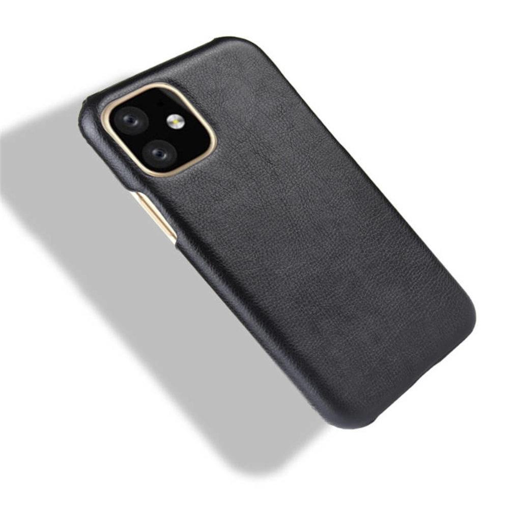 Met zwart leer bekleed iPhone 11 Pro harde hoes