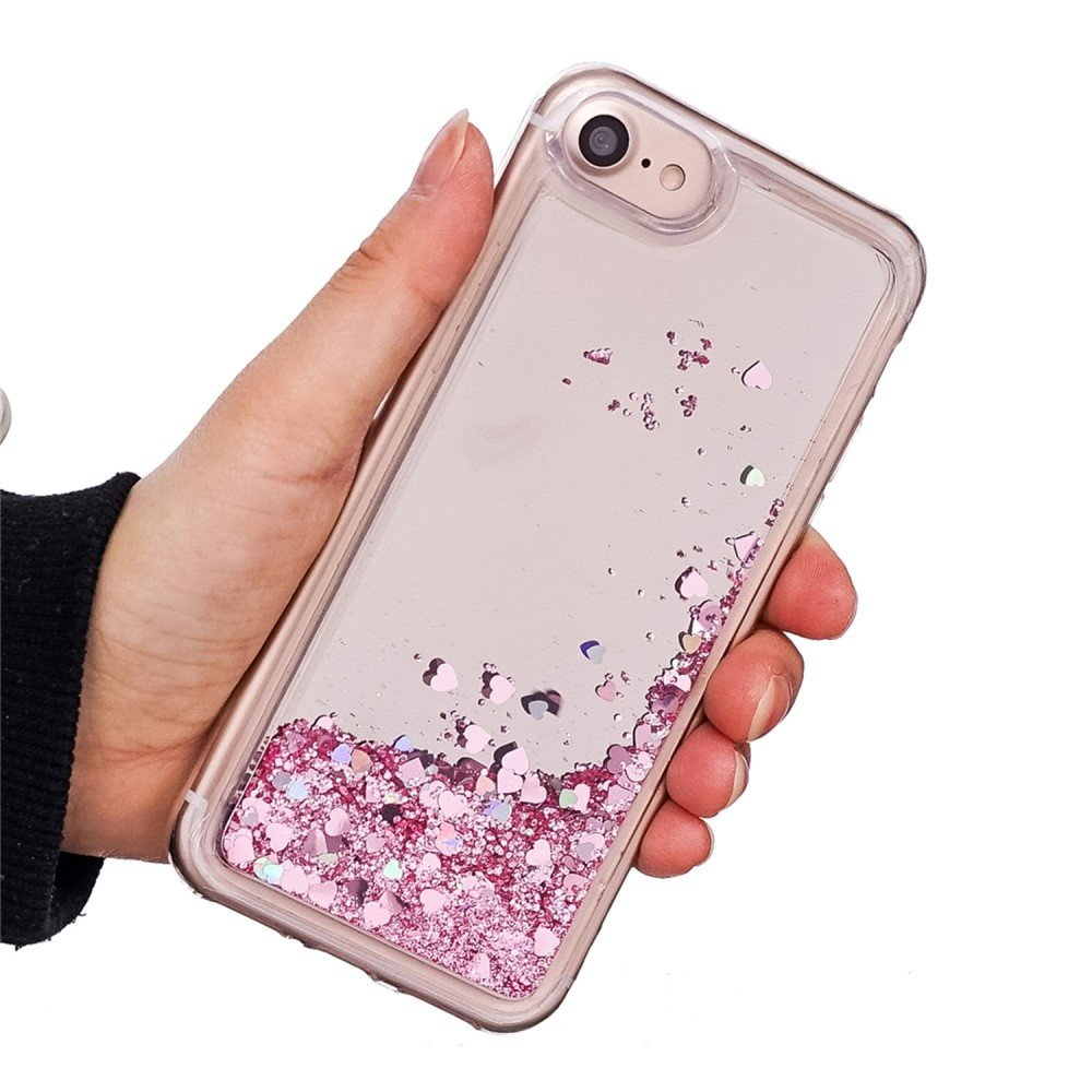 Glitter water hoesje roze