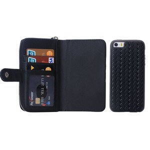 Zwart geweven portemonnee hoesje voor de iPhone 7+ en 8+