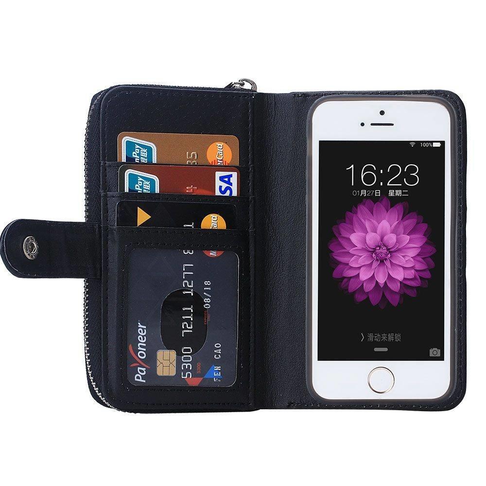 Zwart geweven portemonnee hoesje voor de iPhone 6, 7, 8  en iPhone SE 2020