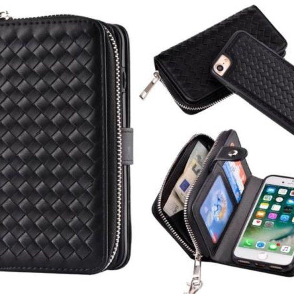 Zwart geweven portemonnee hoesje voor de iPhone 7, 8  en iPhone SE 2020