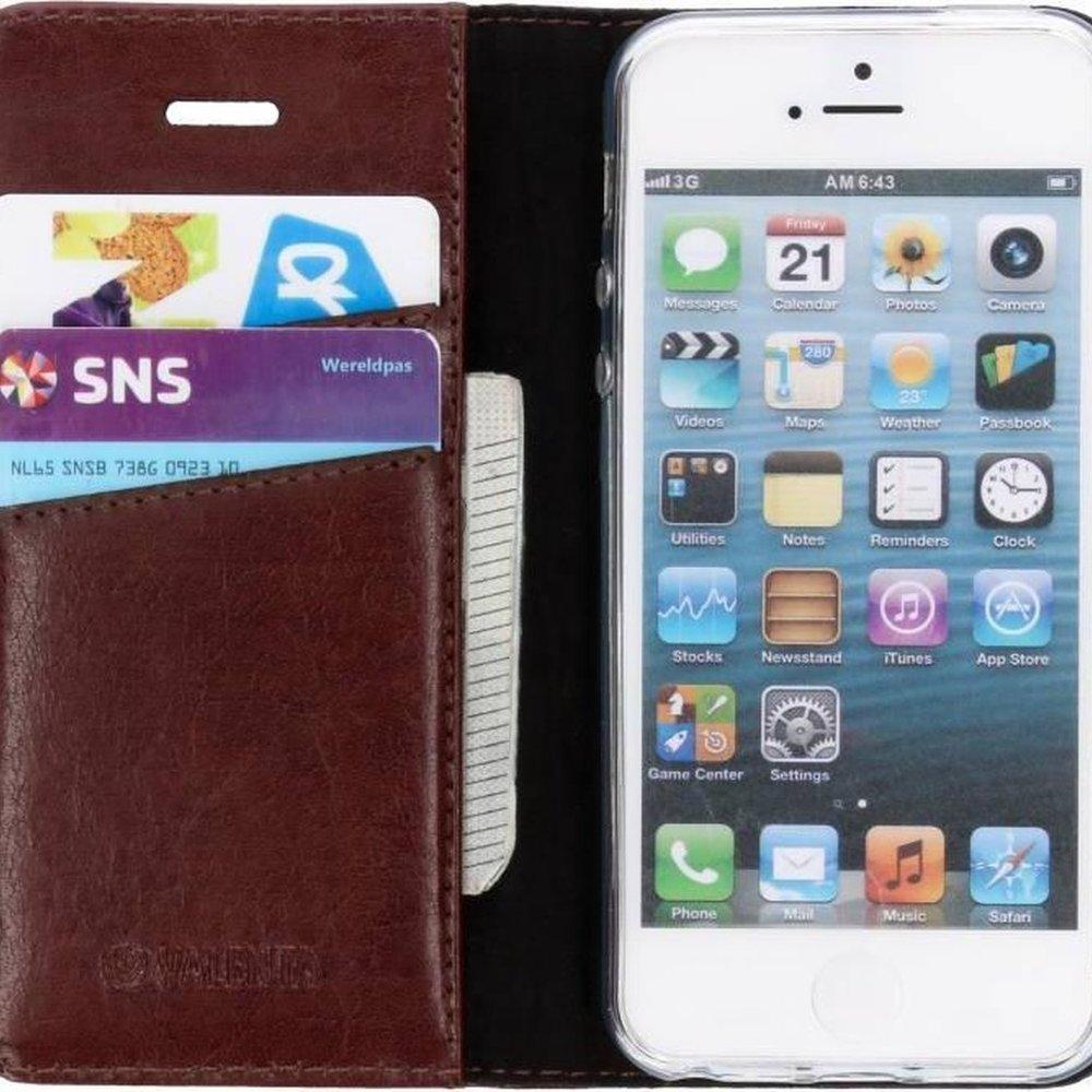 Valenta Leather Booktype iPhone SE / 5 / 5s hoesje - Bruin