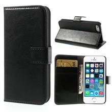 iPhone 5/5S portemonnee hoesje zwart leder
