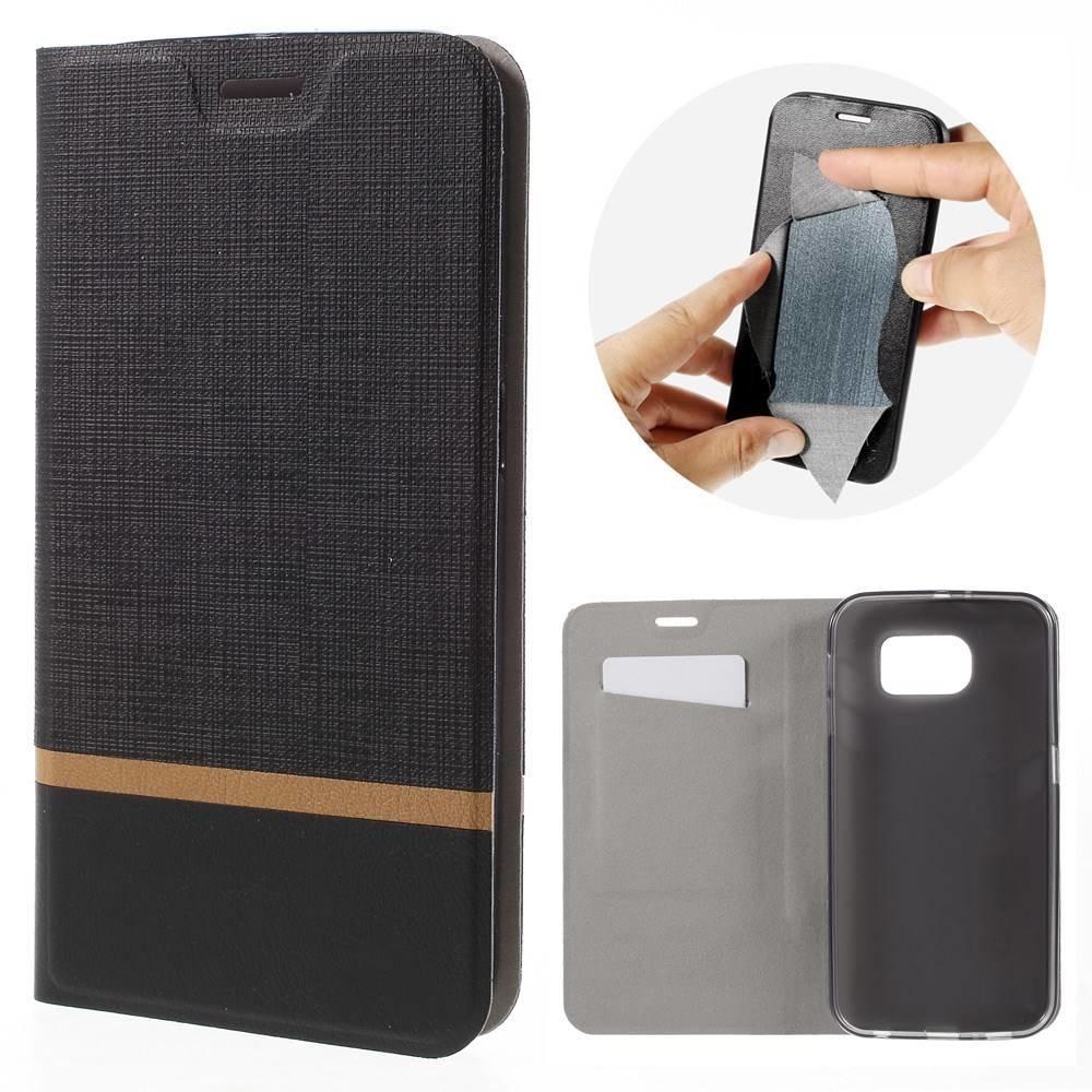 Galaxy S7 portemonnee hoesje zwart met bruine streep