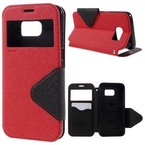 ROAR Lederen Pu portemonnee hoesje met kijkvenster Galaxy S7