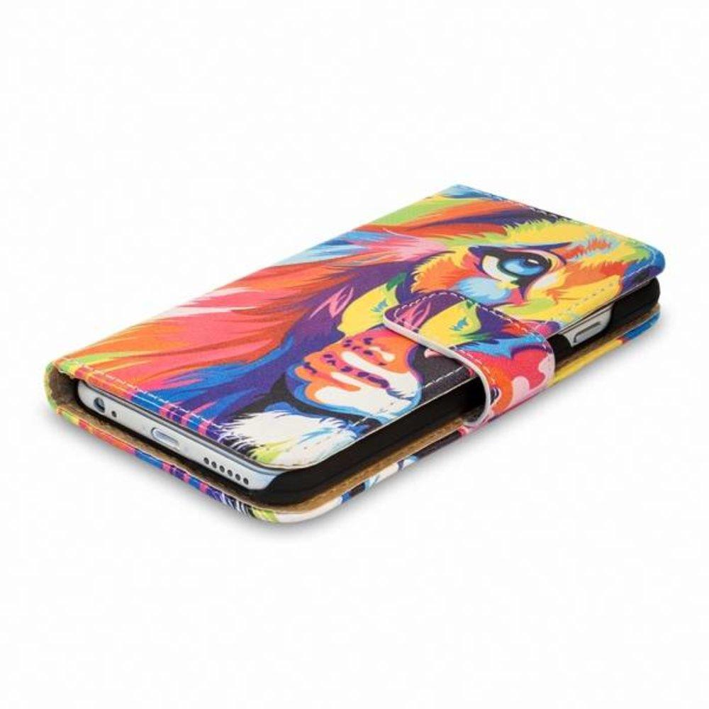 Blackmoon Kleurrijke leeuw iPhone 6 portemonnee hoesje