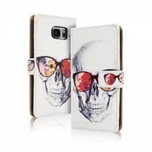 Blackmoon Skull gekleurde bril iPhone SE/5/5S portemonnee hoesje