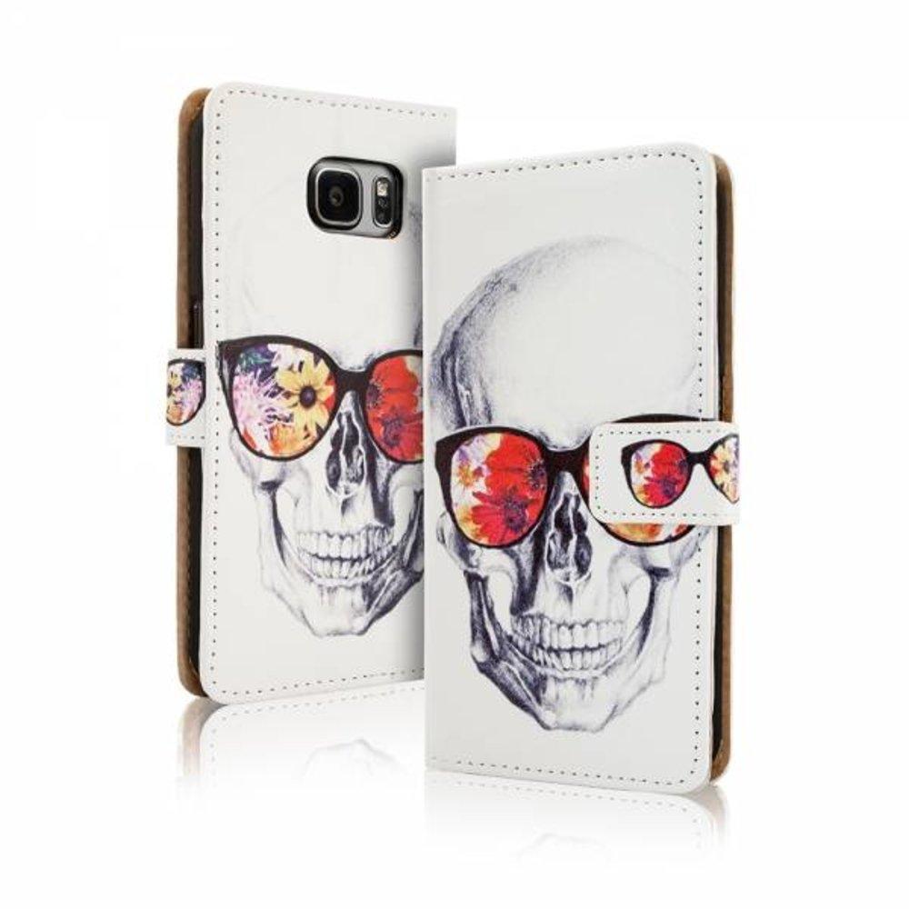Blackmoon Skull gekleurde bril iPhone 6 Plus portemonnee hoesje