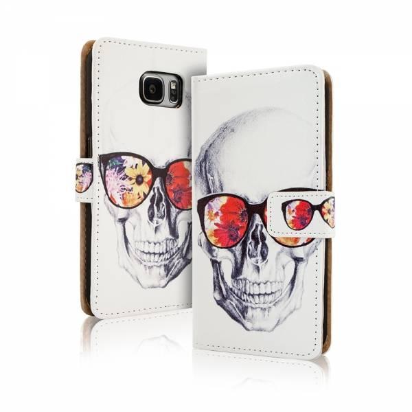 Afbeelding van Blackmoon Skull gekleurde bril iPhone 6 Plus portemonnee hoesje