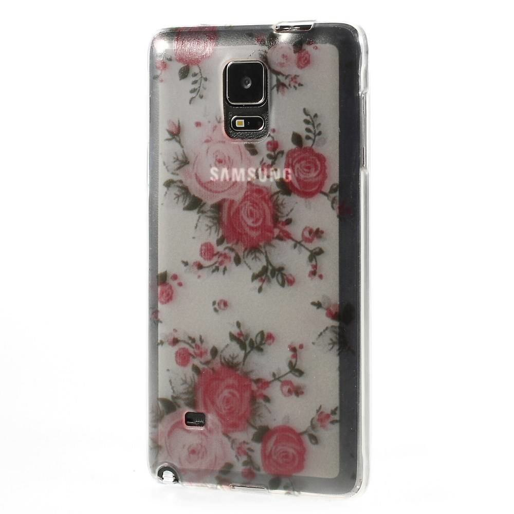 Flexibele hoes met Roze roosjes Galaxy Note 4