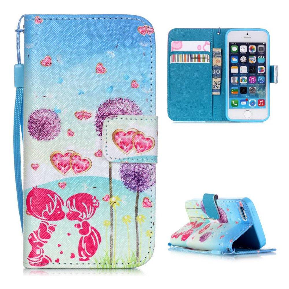 Paardenbloemen portemonnee hoesje voor iPhone SE, 5, 5S
