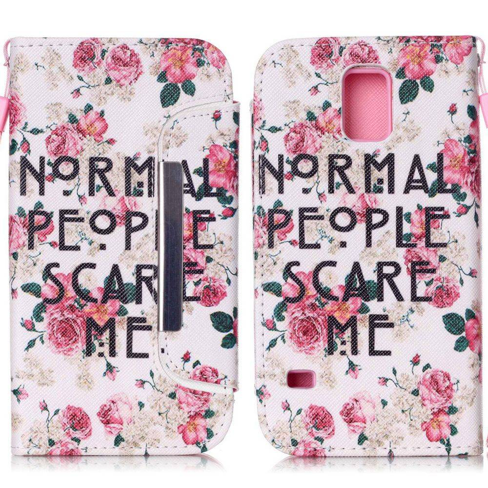 Afbeelding van 2 in 1 wallet hoesje Samsung Galaxy S5 Normal people scare me