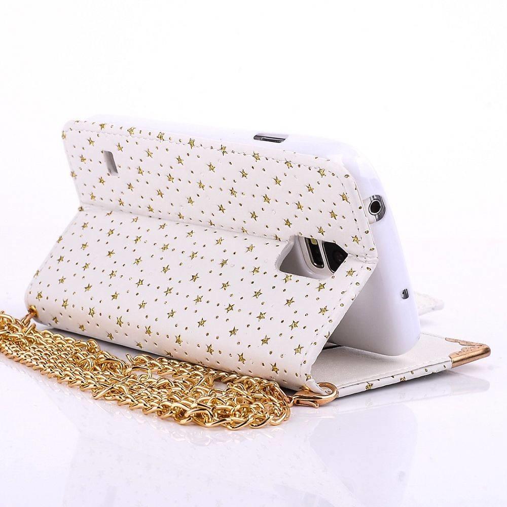 Handtasstijl Fashion wallet voor de Galaxy S5 Wit