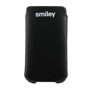 Smiley insteek hoesje zwart met witte tekening