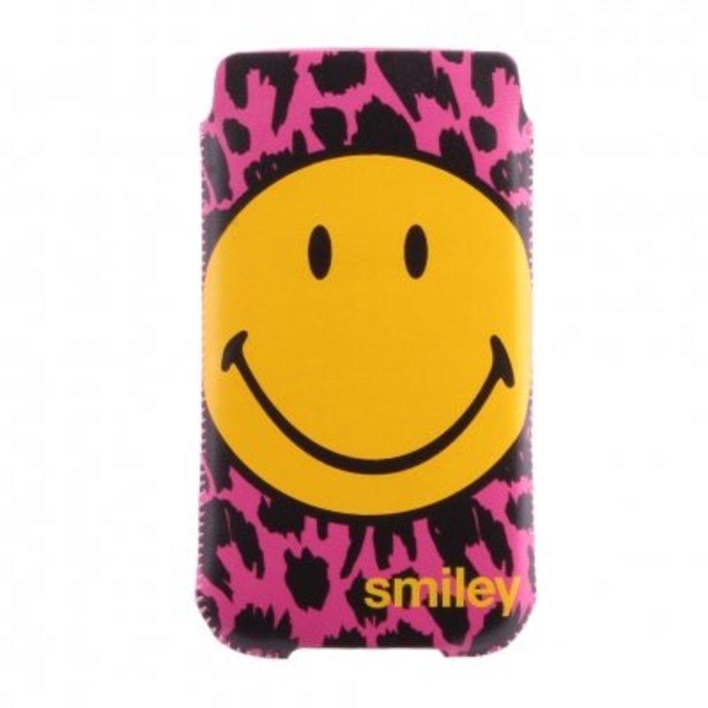 Smiley Insteek hoesje Roze/Zwart met grote smiley