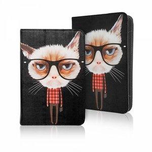 Kat met bril op 7 - 8 inch tablet hoes