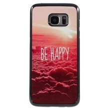 Be Happy plastic omhuld Aluminum Hardcase hoesje Galaxy S7 edge