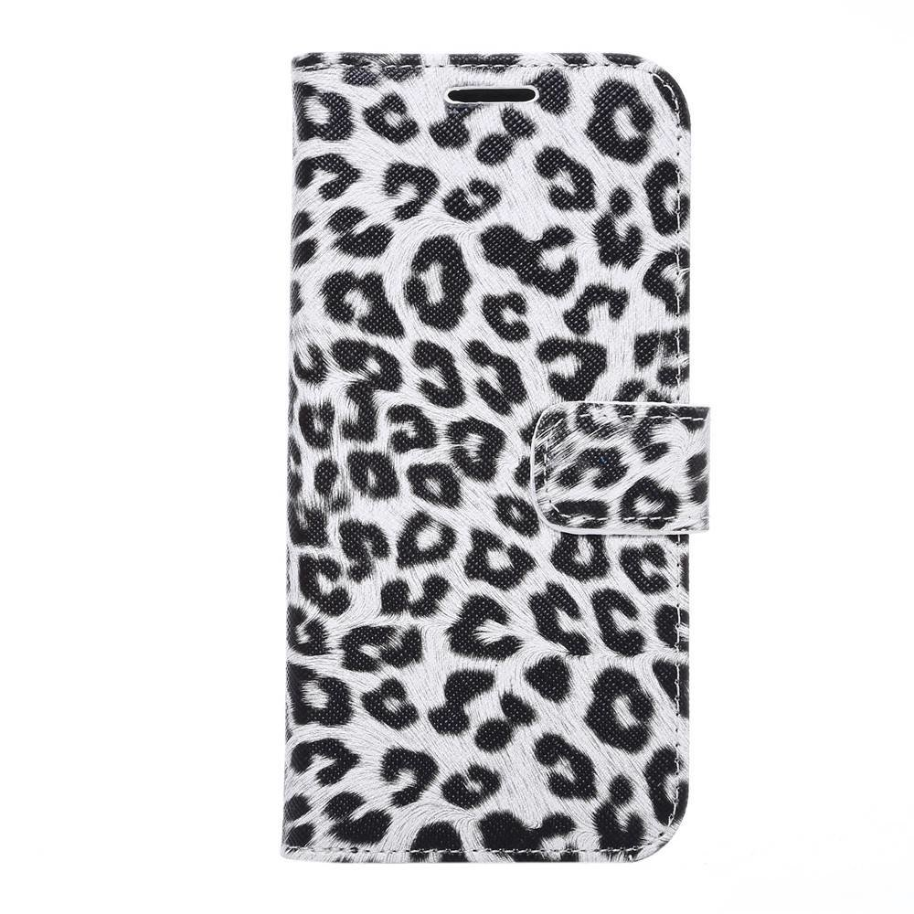 Luipaard wit Samsung Galaxy S7 Edge Portemonnee hoesje
