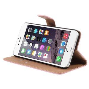 Roze pu lederen iPhone 6 plus portemonnee hoes