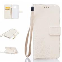 Witte met uitgekerft patroontje Samsung S7 Edge portemonnee hoesje