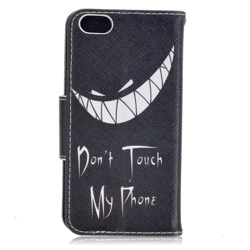 Don't touch my phone type 2 iPhone SE, 5 en 5S portemonnee hoesje