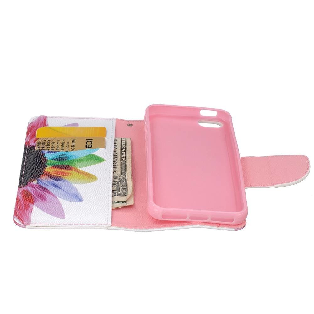 Kleurrijke bloem iPhone SE, 5 en 5S portemonnee hoesje