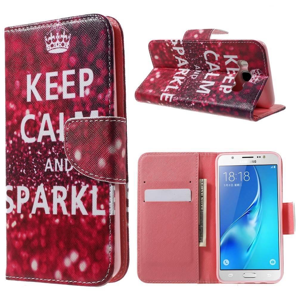 Samsung Galaxy J5 portemonnee hoes keep calm and sparkle