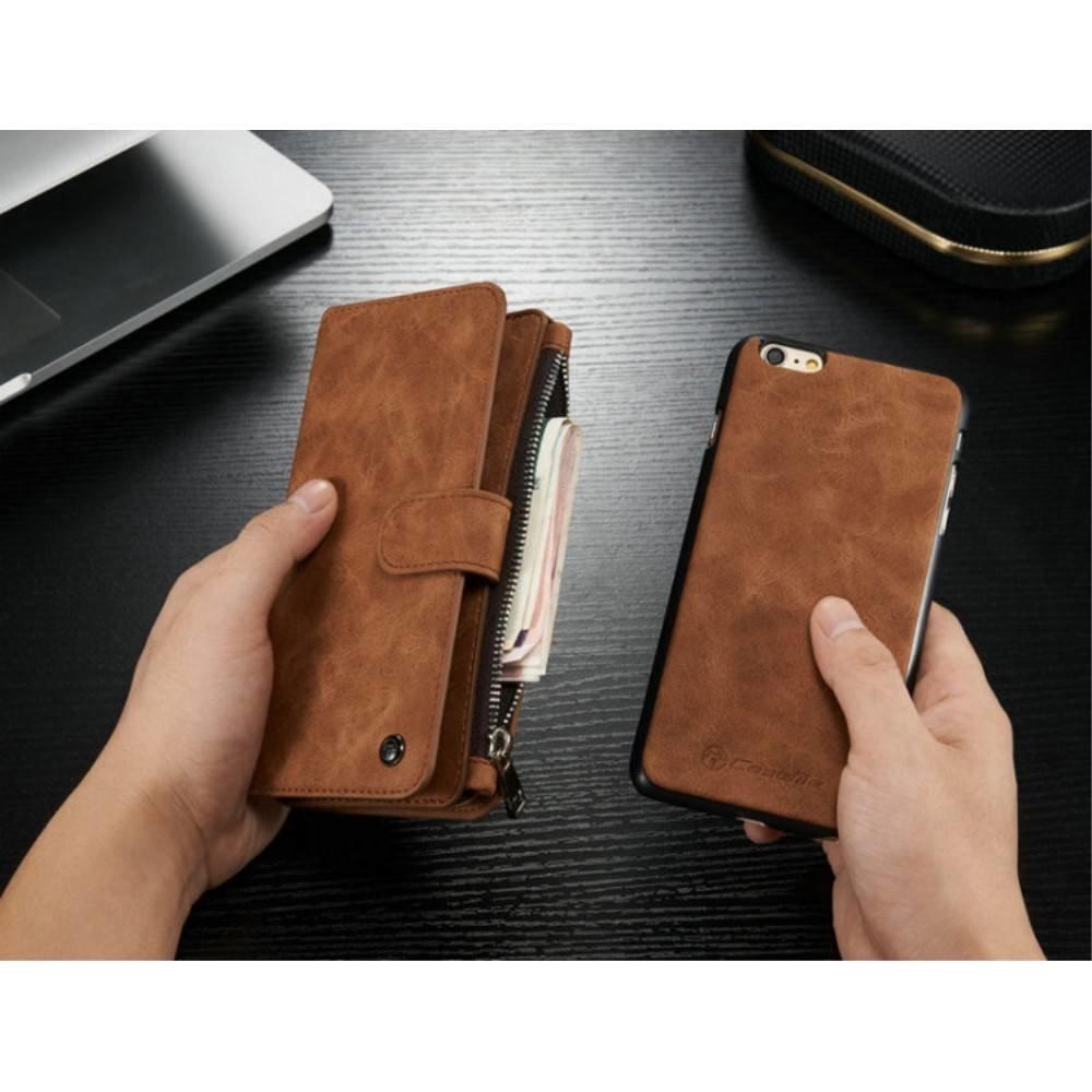 CaseMe 14 vaks 2 in 1 bruine wallet hoesje iPhone 6 en 6s  echt Split leer