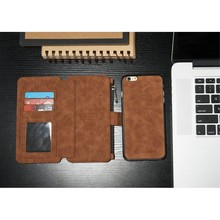 CaseMe 14 vaks 2 in 1 wallet bruin hoesje iPhone 6 echt Split leer