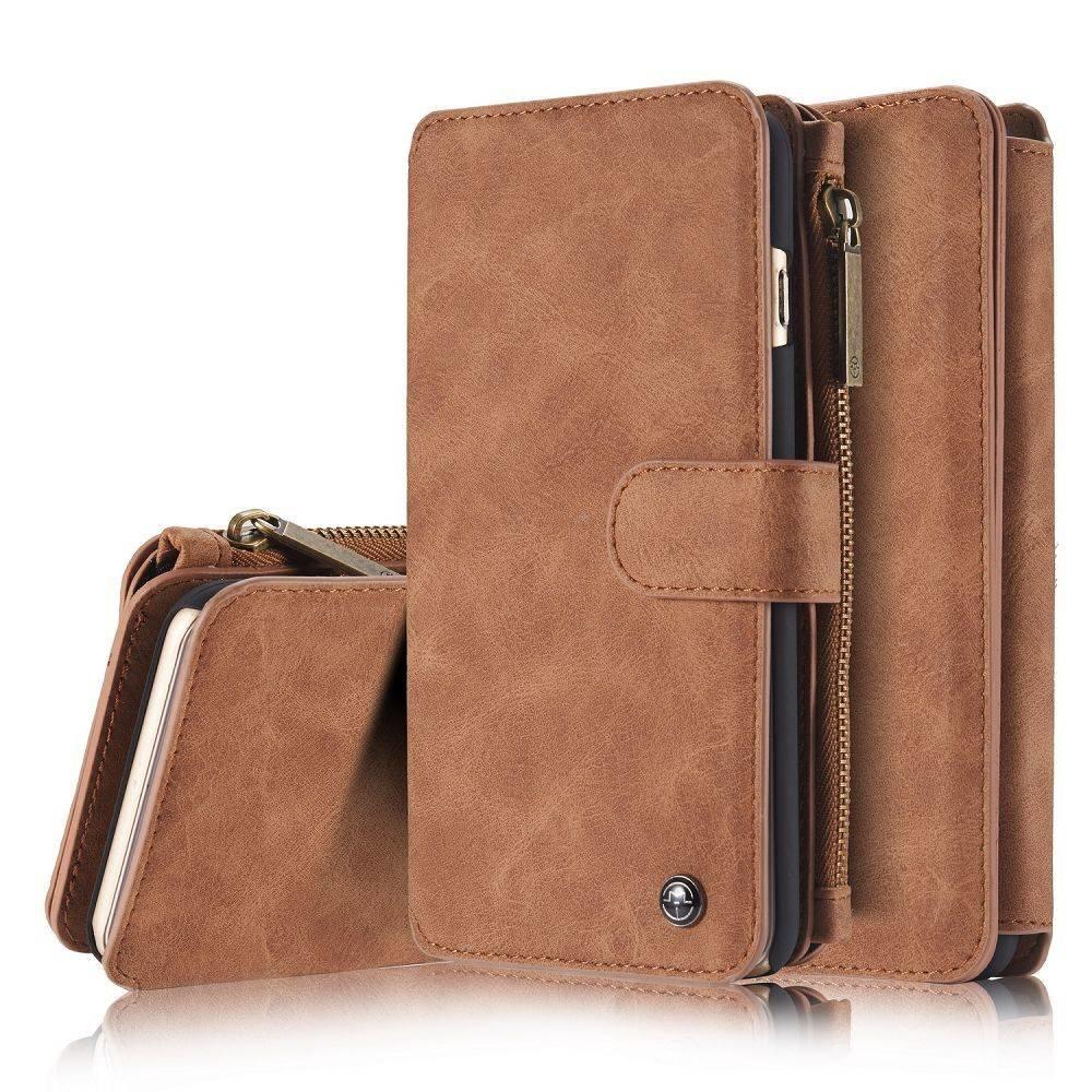 CaseMe 14 vaks 2 in 1 wallet bruin hoesje bekleed met echt Split leer, geschikt voor iPhone 6 Plus