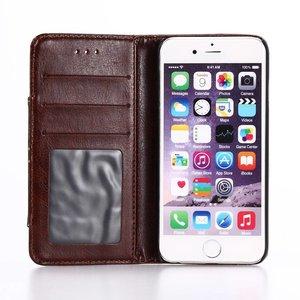 Koffie bruin iPhone 7 Portemonnee hoesje met broekzak