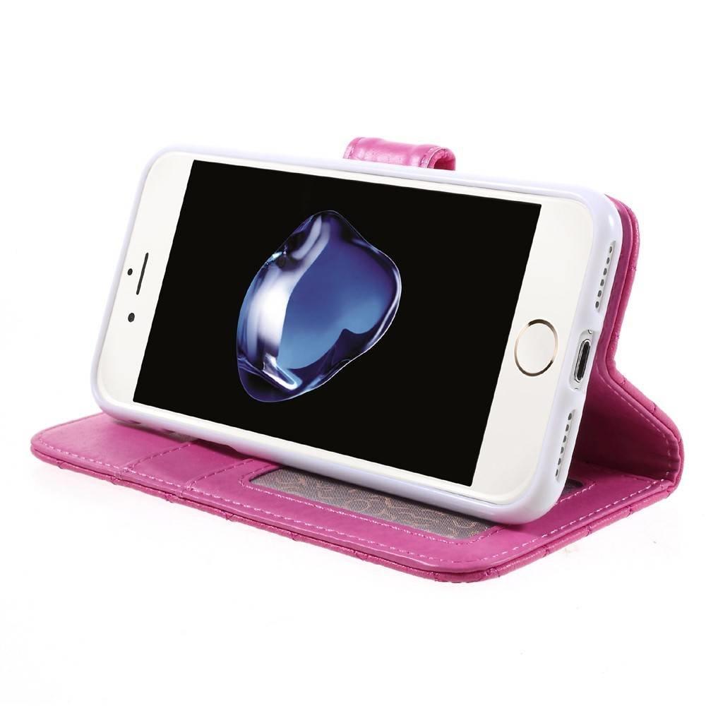 Roze geruit portemonnee hoesje voor de iPhone 7