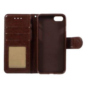 Crazy horse bruine pu leren iPhone 7 portemonnee hoesje