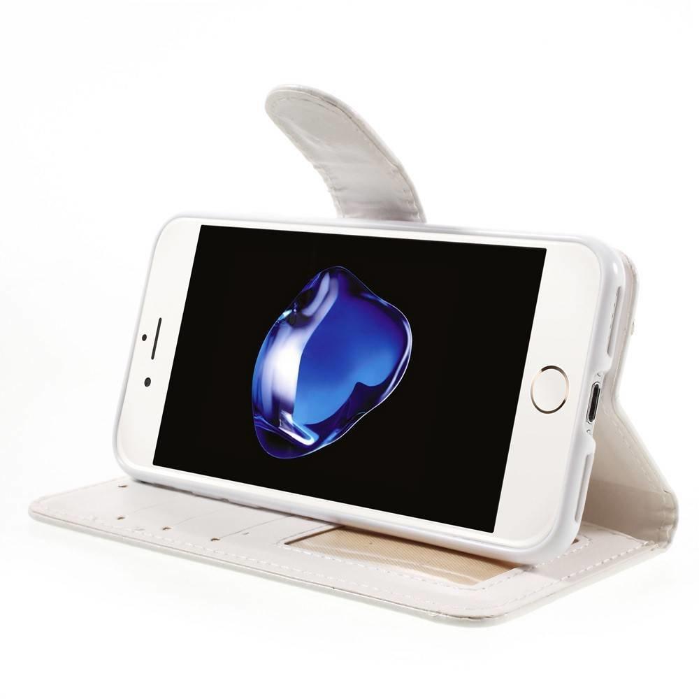 Crazy horse witte pu leren iPhone 7 portemonnee hoesje
